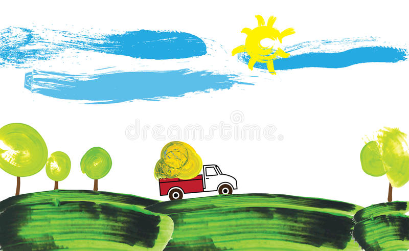 Download Illustration Of A Farmer Truck Working On A Farm Stock Vector - Image: 12248897