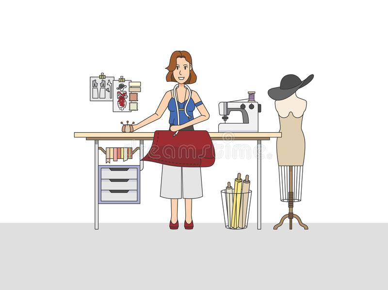 Illustration of a fashion designer at work vector illustration