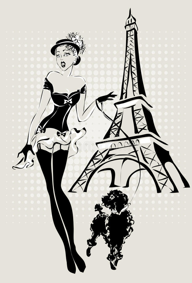 Illustration Fashion woman near Eiffel Tower with little dog stock illustration