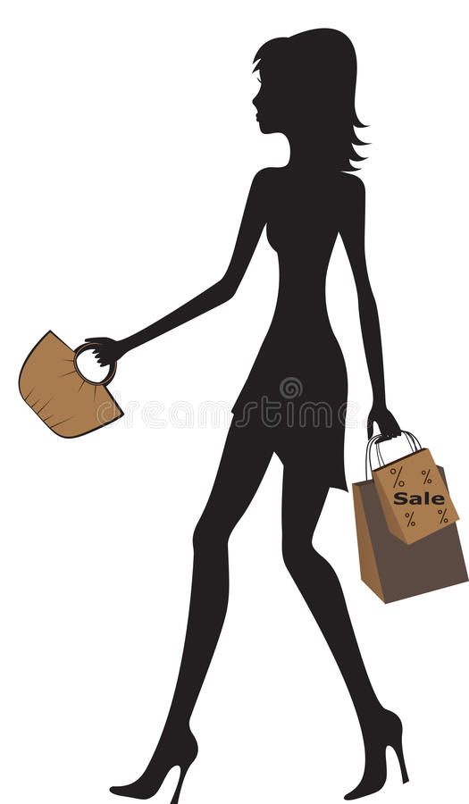 Illustration of fashionable women shopping.