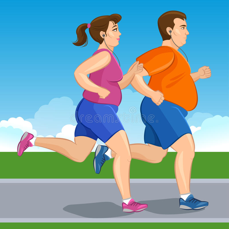 Illustration of a fat runners - couple running royalty free illustration