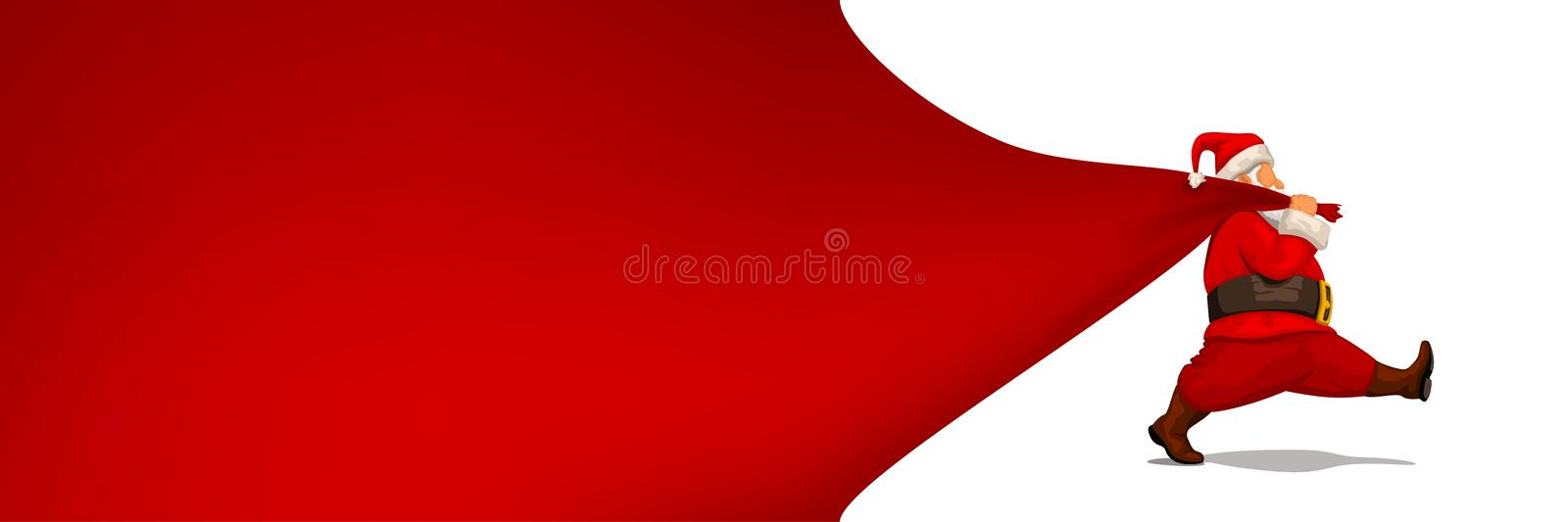 Santa claus hold red textile stock illustration
