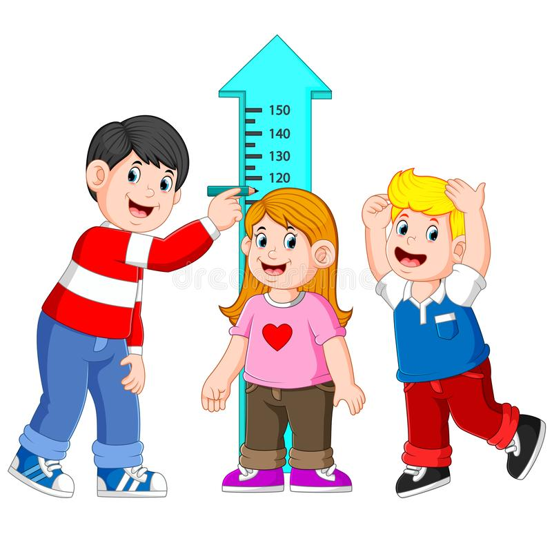 Father measuring his child height with height measurement vector illustration