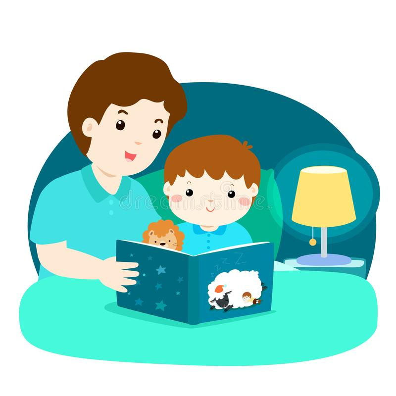 a illustration of a father reading a bedtime story to his