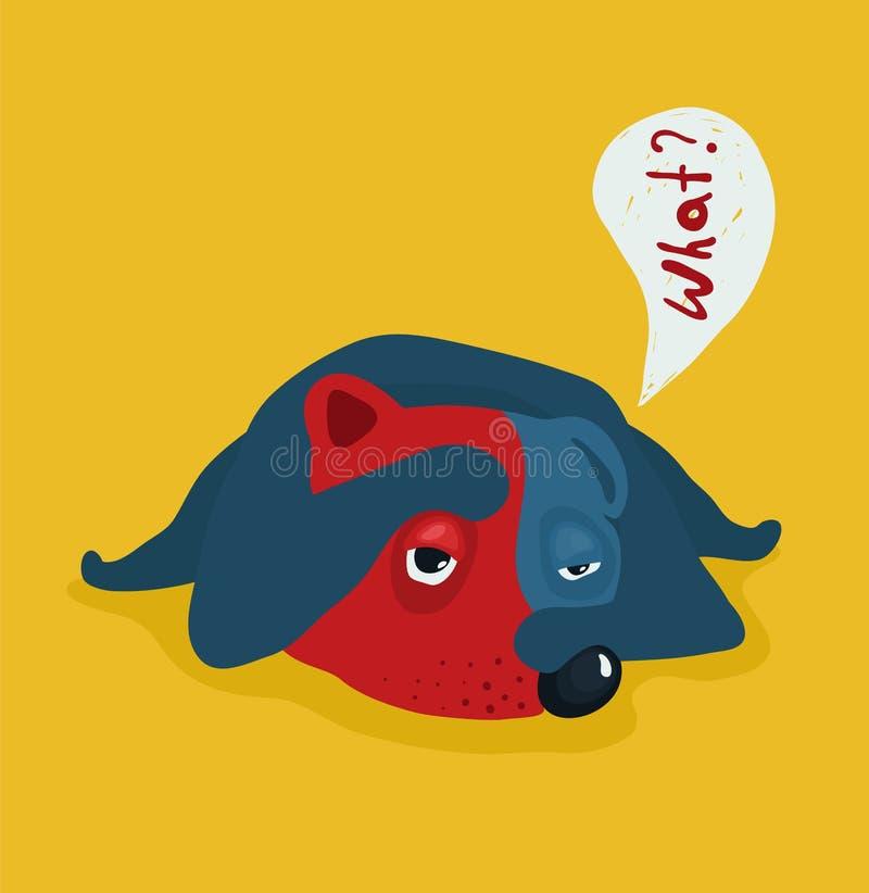 Illustration fatiguée ou paresseuse drôle de chien illustration libre de droits