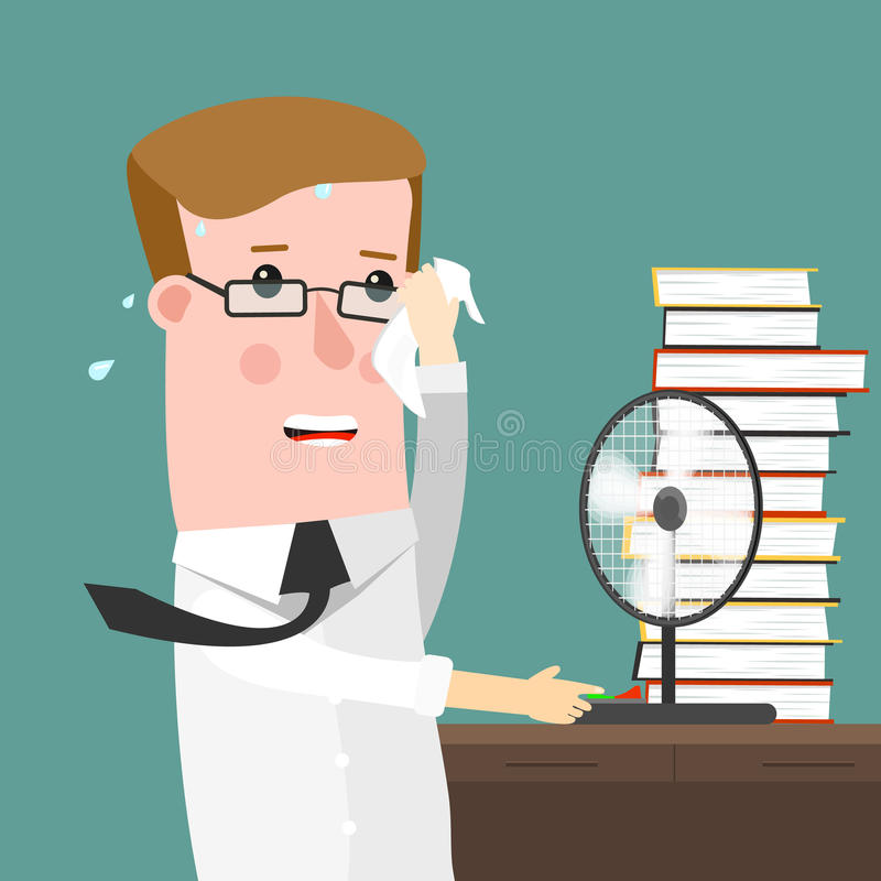 Illustration Featuring a businessman Sweating Profusely in His Office royalty free stock images