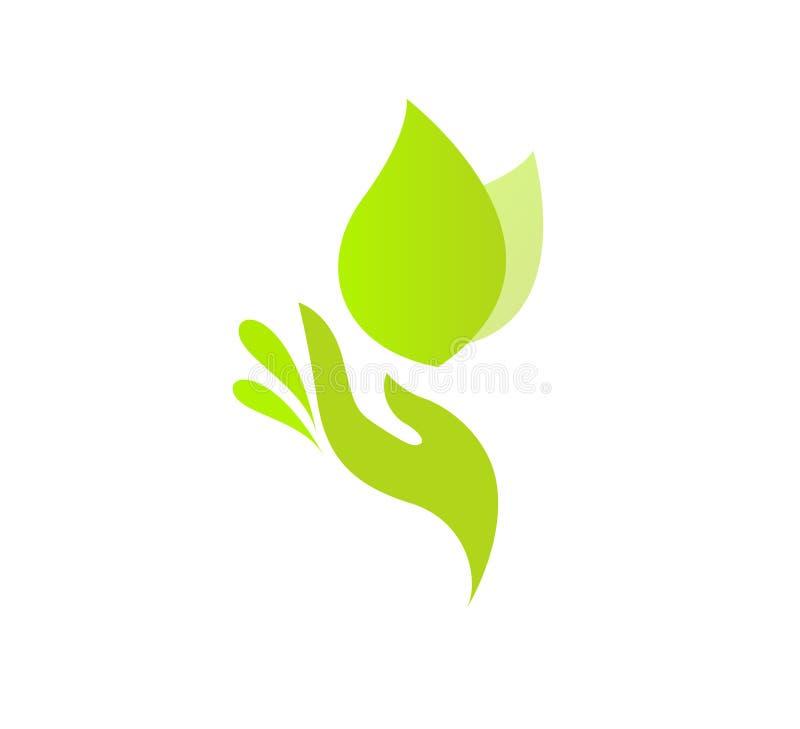Think Green Human Hand on Leaf. royalty free illustration