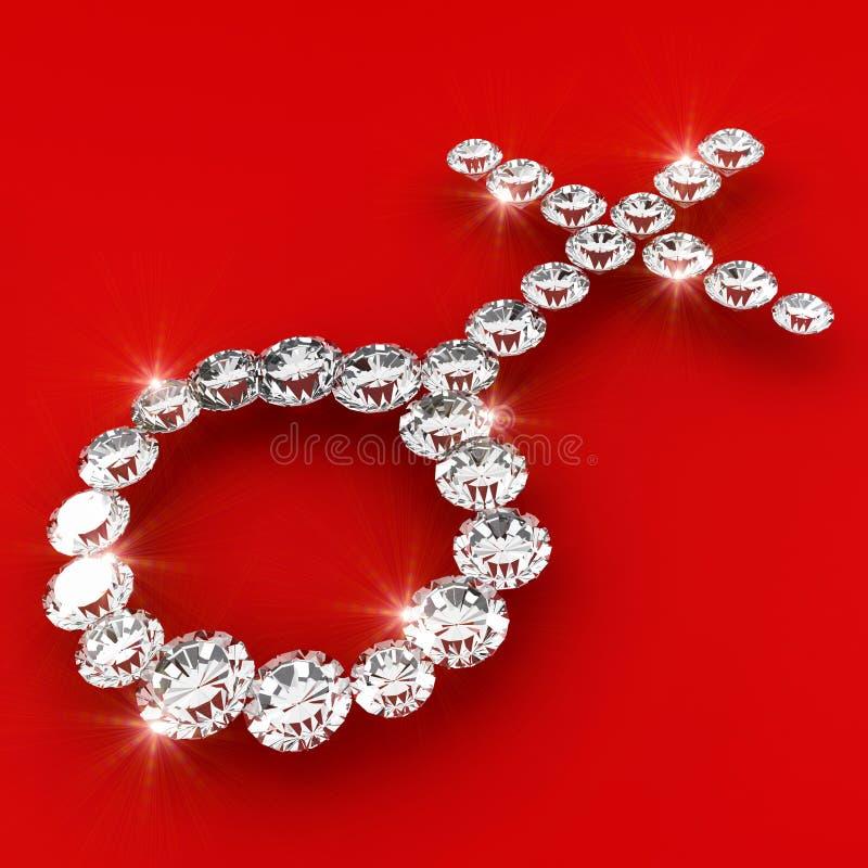 Illustration femelle d'art de diamant de la forme 3d de genre illustration de vecteur