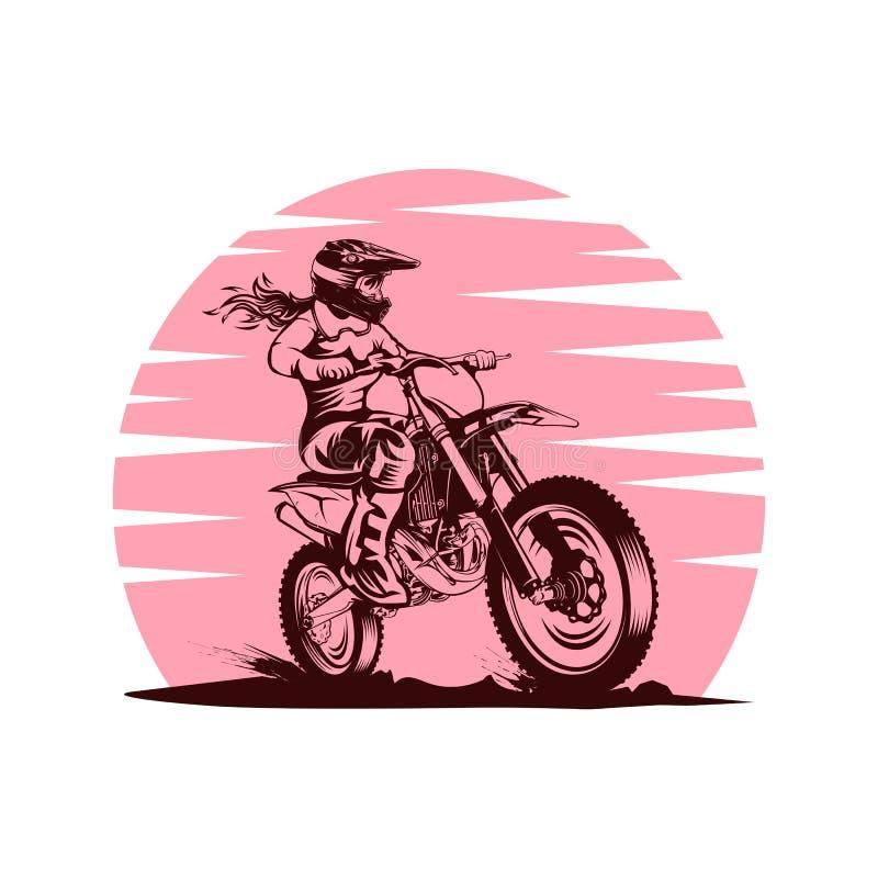 Illustration femelle de conception de vecteur de motocross de coucher du soleil illustration de vecteur