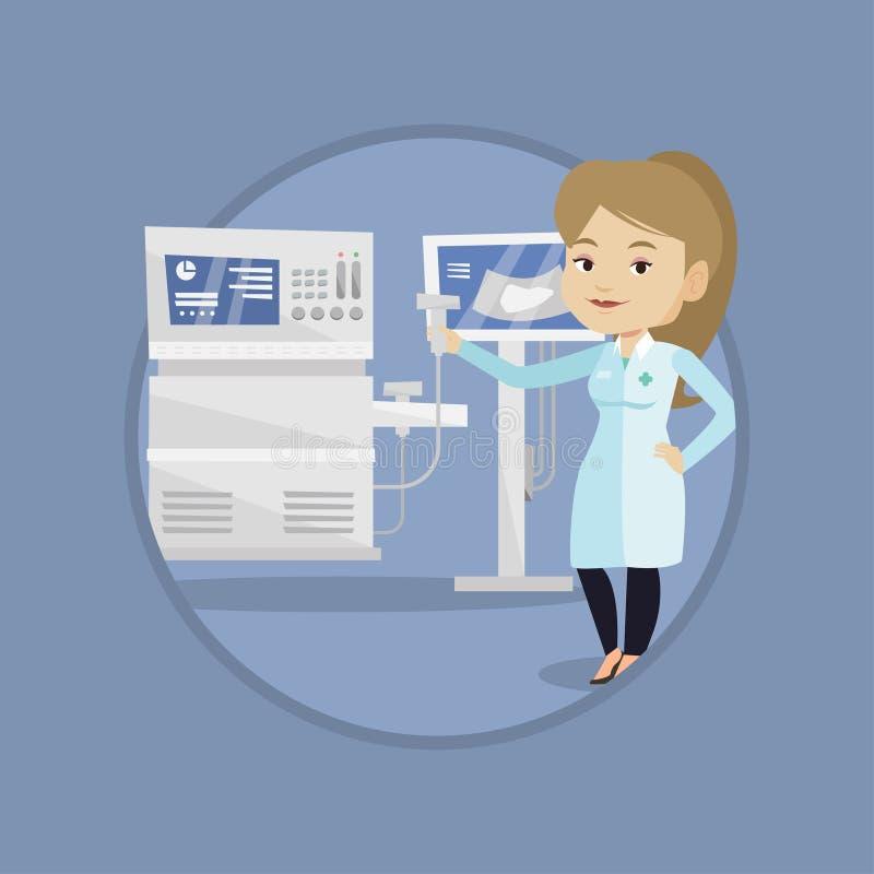Illustration femelle de vecteur de docteur d'ultrason illustration libre de droits