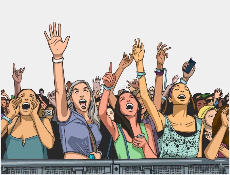 Illustration of festival crowd cheering at concert stock illustration