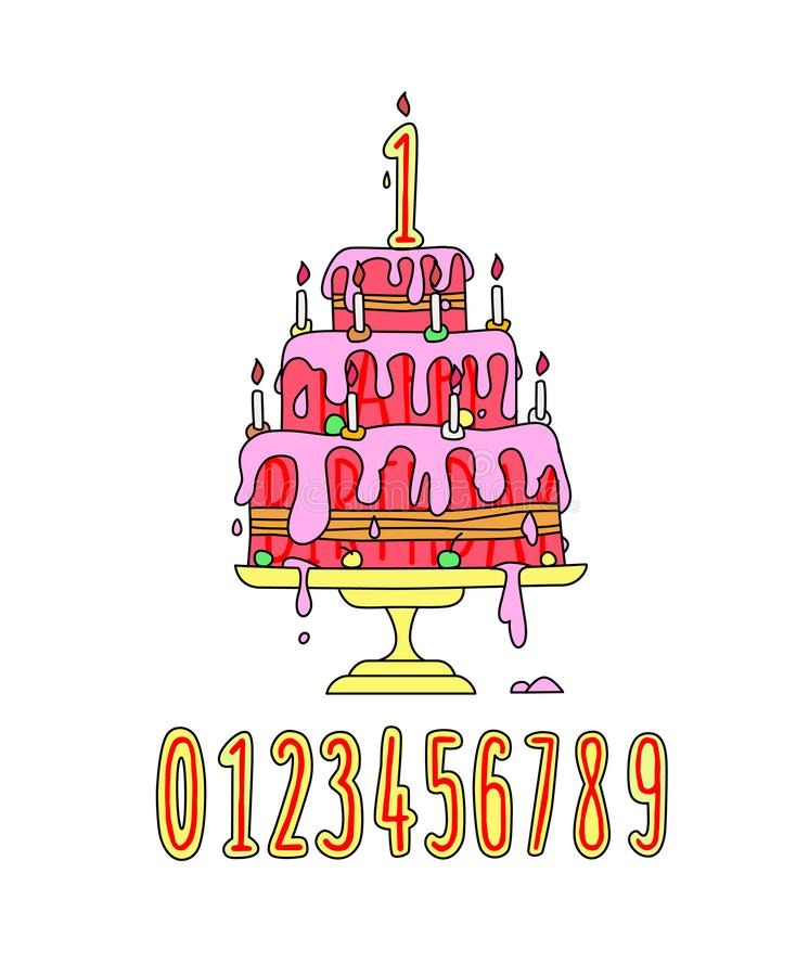 Illustration of a festive pink cream cake. Vector. Candle Numbers Cartoon style. A set of birthday decorations. Funny picture. Nice picture vector illustration