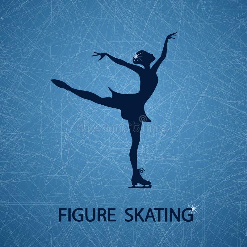 Illustration with figure skater vector illustration
