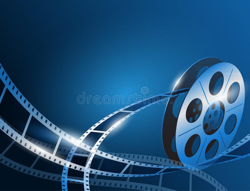 Illustration Of A Film Stripe Reel On Shiny Blue Movie ...