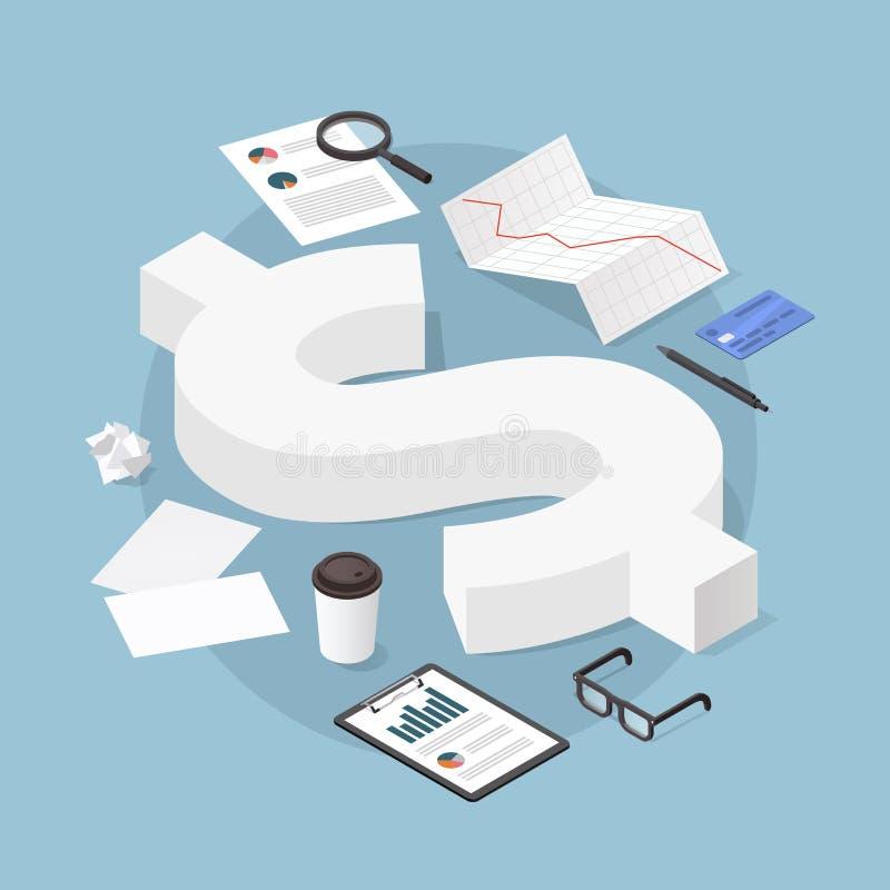 Illustration financière isométrique de concept illustration de vecteur