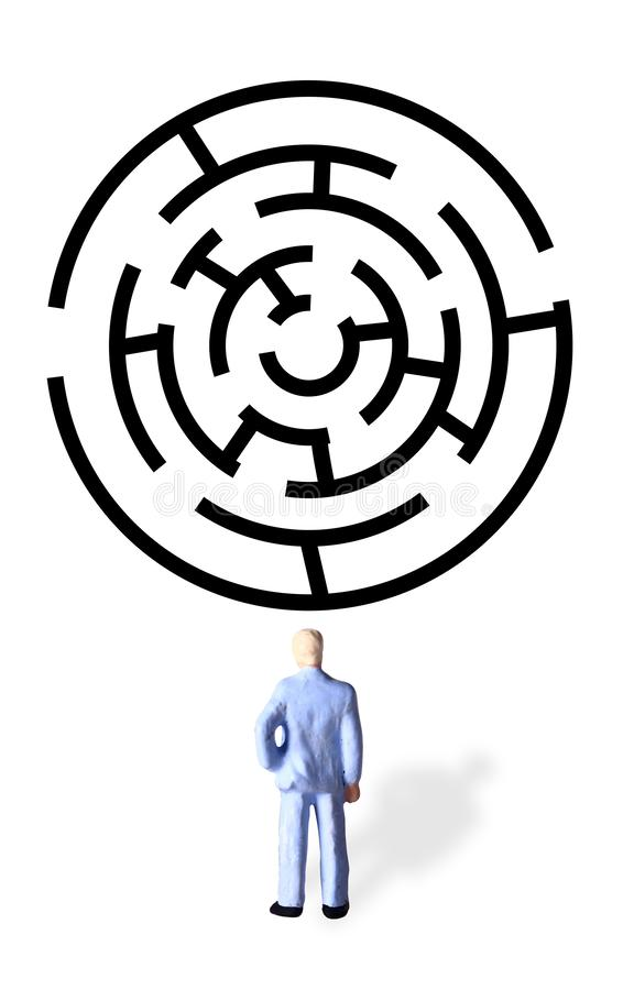 Illustration for finding best solution problem, Mini Figure Businessman Watching Black Rounded Maze with Two Alternative Way Out stock illustration