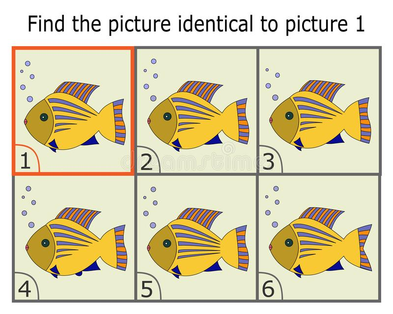 Illustration of Finding Two Identical Pictures. Logic Game. Educational Game for Children. Find the Same. royalty free illustration