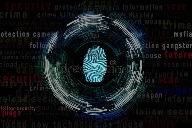 Illustration of a fingerprint and around the word criminal character stock images