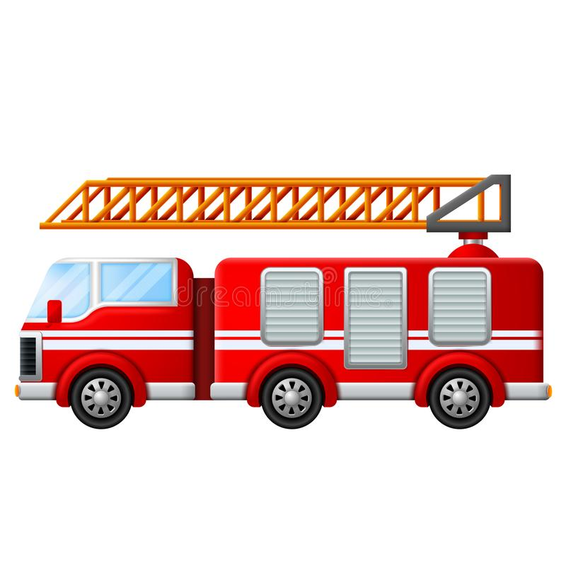 Fire truck with ladder vector illustration