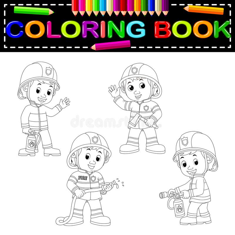 Firefighter coloring book vector illustration