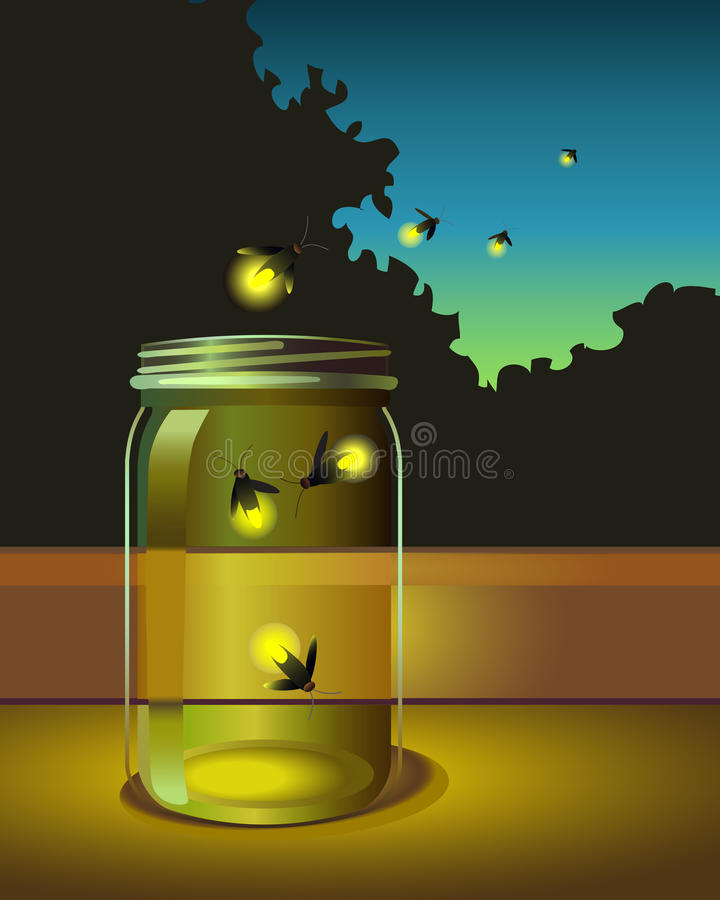 Illustration of fireflies escaping a glass jar stock illustration