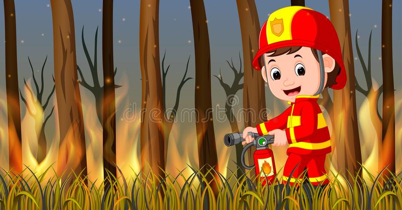 Fireman at the wild fire scene royalty free illustration