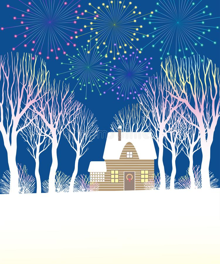 Christmas fireworks above the house, among the trees and bushes. vector illustration