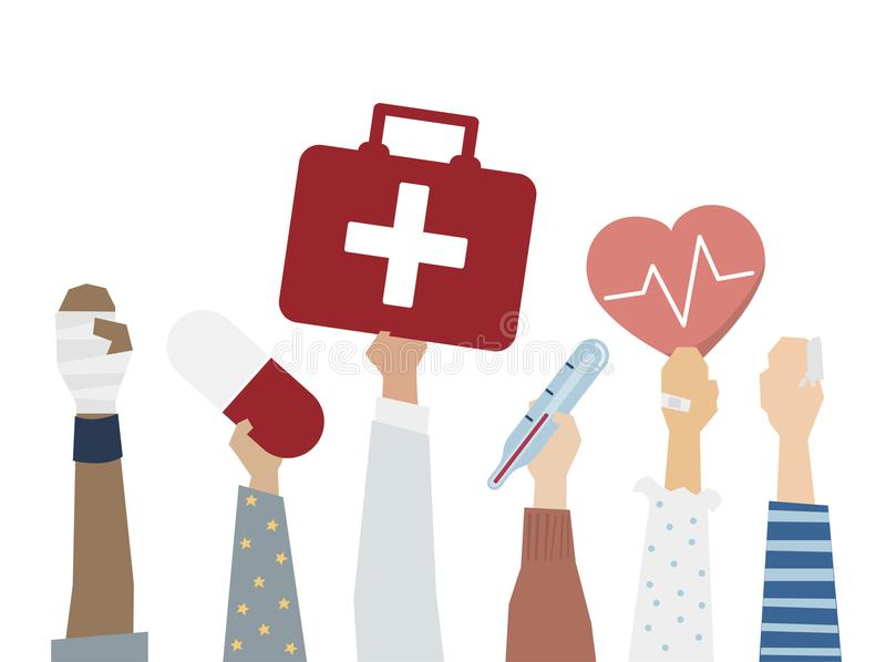 Illustration of first aid medical care concept stock illustration