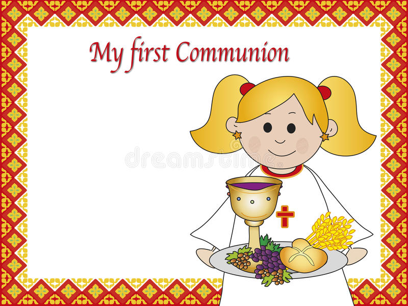 First communion. Illustration for first communion for girl stock illustration