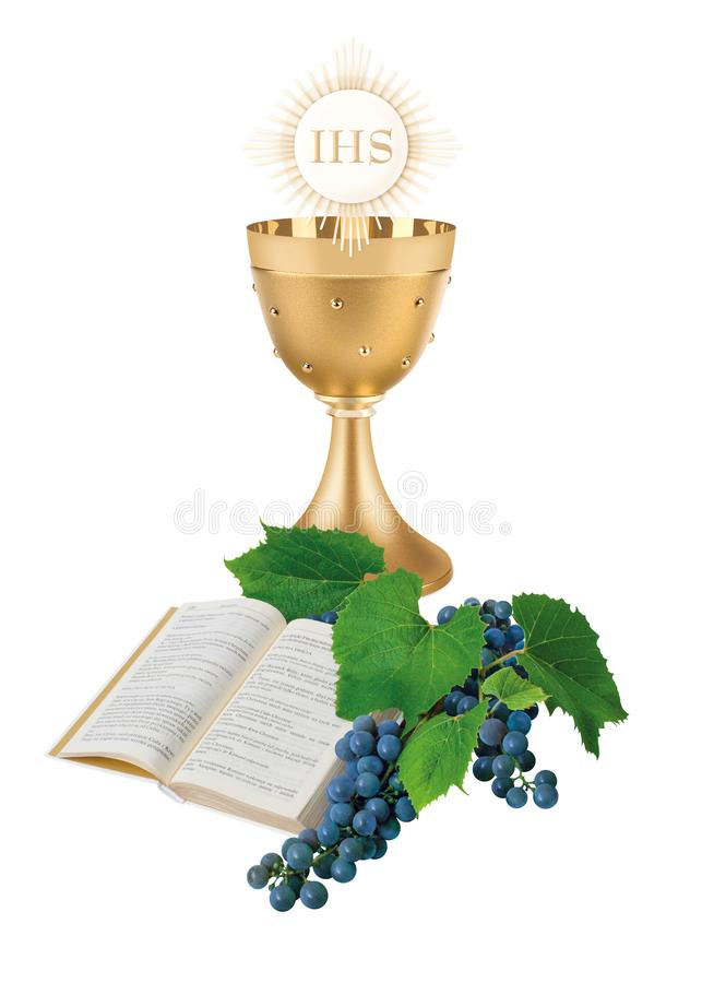 The first Holy Communion, an illustration with a cup, a host, bible and wine royalty free stock photo