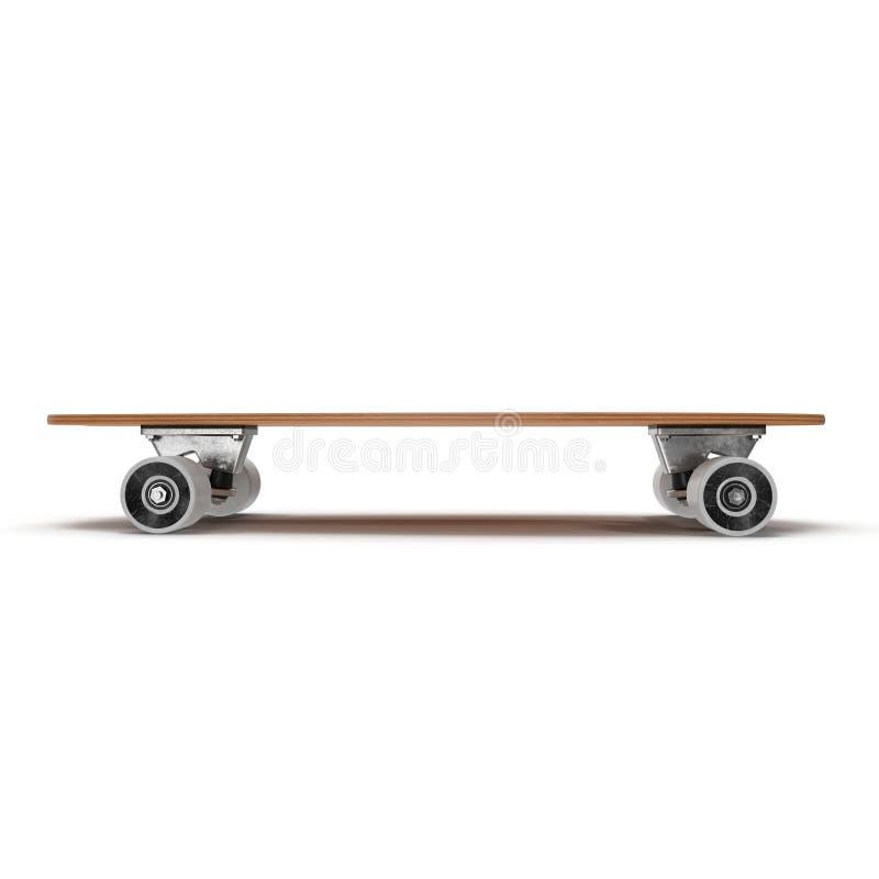 Illustration Fischschwanz-Kreuzer-Skateboard-Faulpelz-Front View On White Backgrounds 3D lokalisierte lizenzfreie abbildung