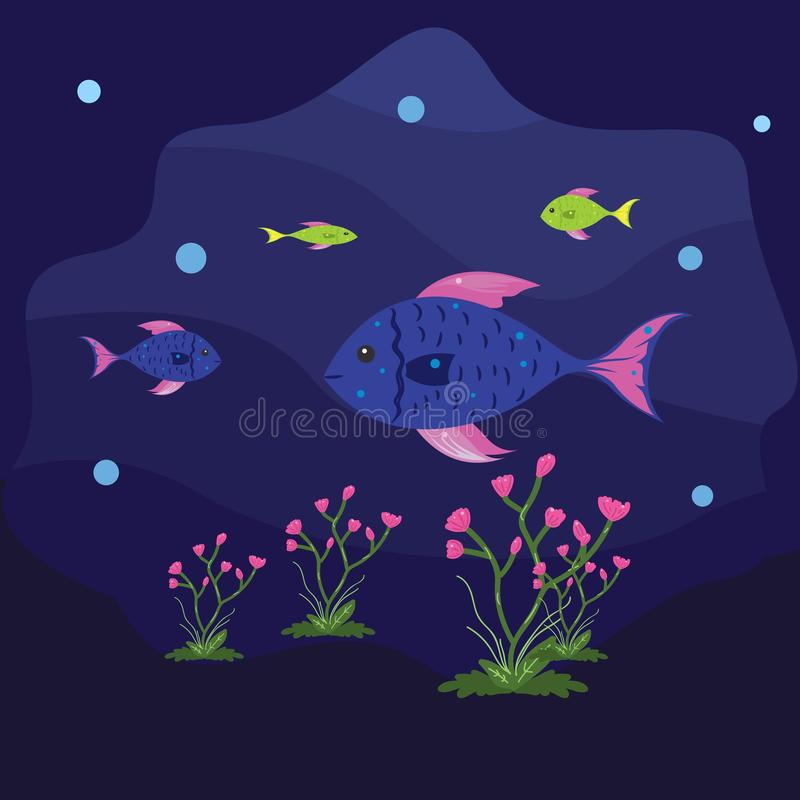 Illustration of The fish are swimming under the sea with cheerfulness. Flat cute background child illustration vector illustration