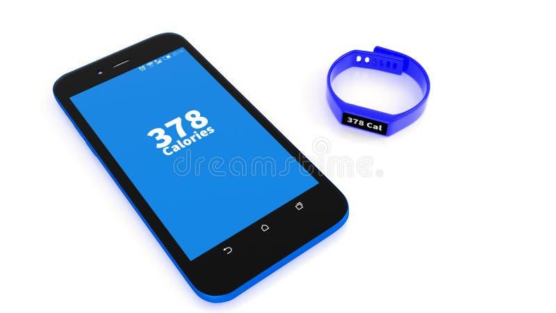 Illustration of fitness tracker and app on smartphone. An illustration of fitness tracker wrist band and health and fitness app on a smartphone stock illustration