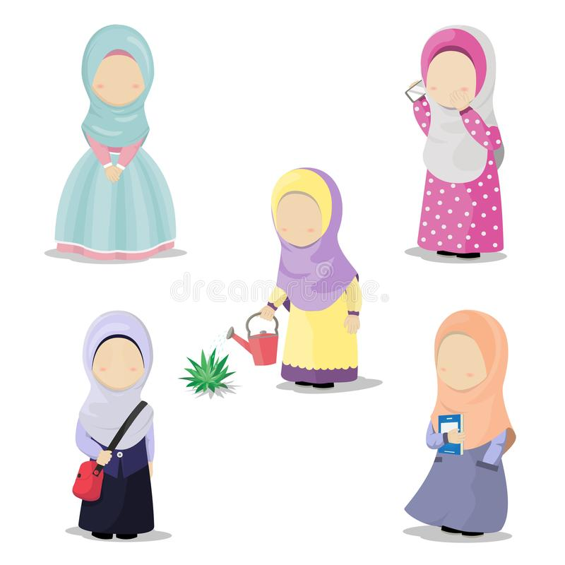 Set of Hijab girl cartoon character doing daily activities vector illustration. Illustration of five little cute girls with hijab doing daily activities, make a stock illustration