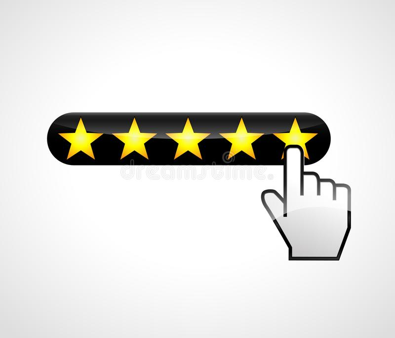 Stars with hand click. Illustration of five stars with hand click vector illustration