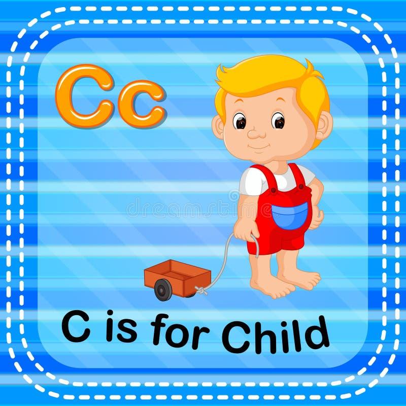 Flashcard letter C is for child. Illustration of Flashcard letter C is for child stock illustration