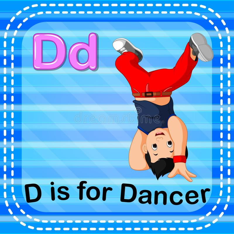 Flashcard letter D is for dancer. Illustration of Flashcard letter D is for dancer stock illustration