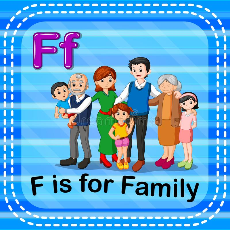 Flashcard letter F is for family. Illustration of Flashcard letter F is for family vector illustration