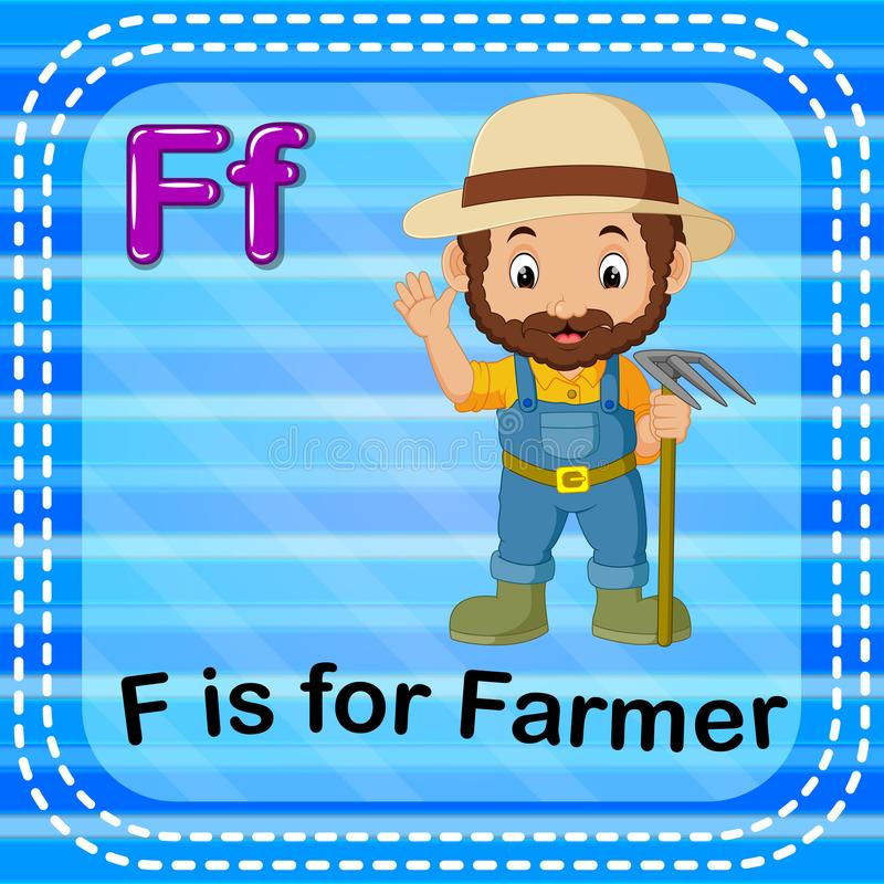 Flashcard letter F is for farmer. Illustration of Flashcard letter F is for farmer royalty free illustration
