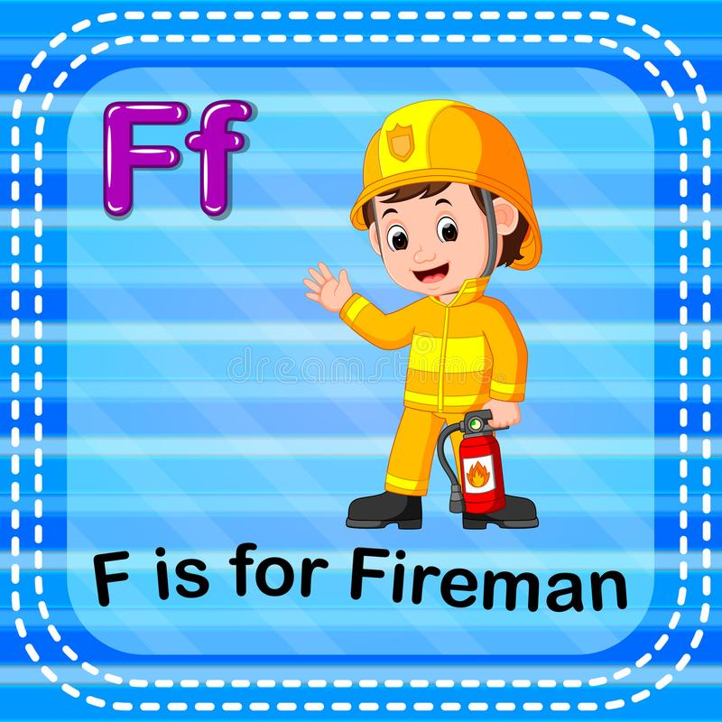 Flashcard letter F is for fireman royalty free illustration