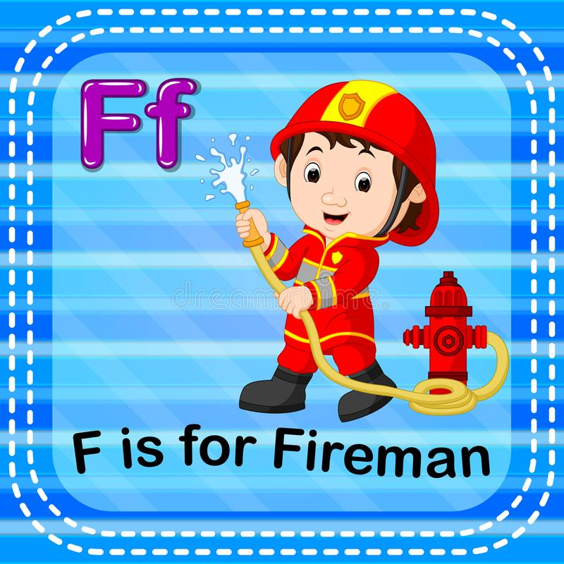 Flashcard letter F is for fireman stock illustration