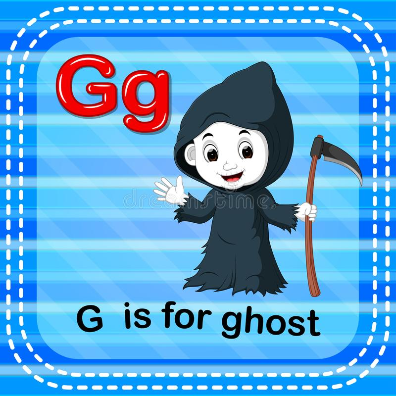 Flashcard letter G is for ghost. Illustration of Flashcard letter G is for ghost stock illustration