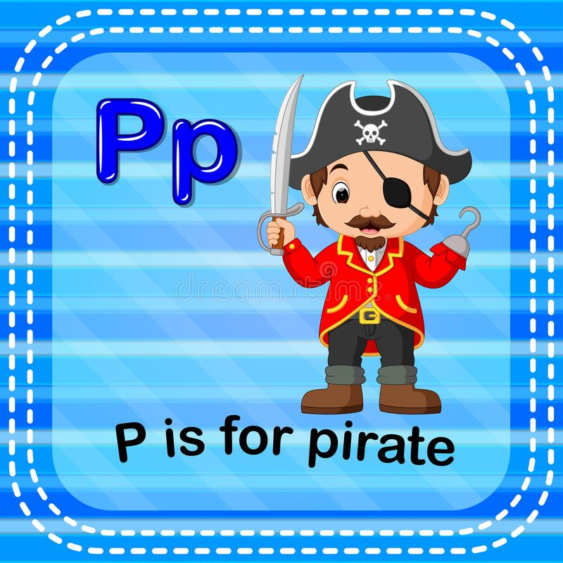 Flashcard letter P is for pirate. Illustration of Flashcard letter P is for pirate vector illustration