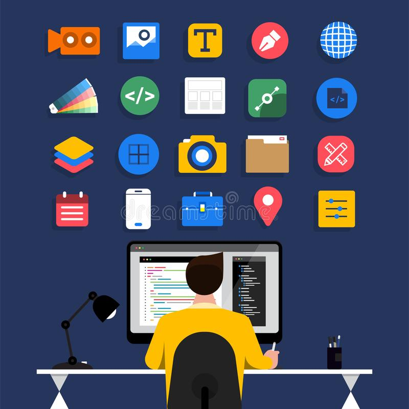 Web Designe and Programmer stock illustration