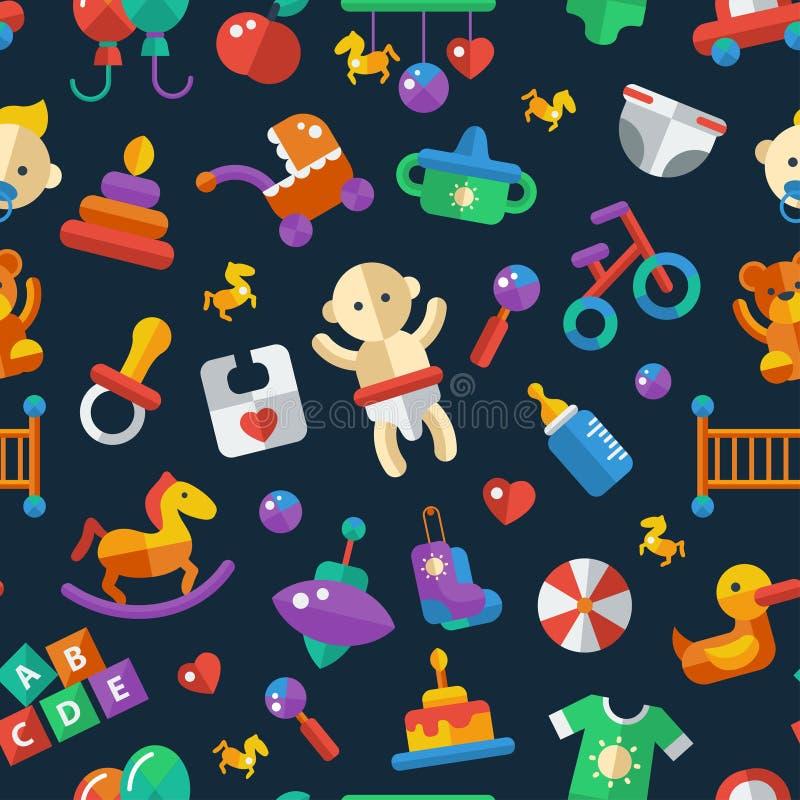 Illustration of flat design cute baby pattern with. Illustration of vector flat design cute baby pattern with icons royalty free illustration