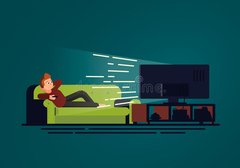 An illustration in flat design of a man lying on the couch who watches TV. Sofa and television set in dark room on the blue backgr. Ound. Vector concept royalty free illustration