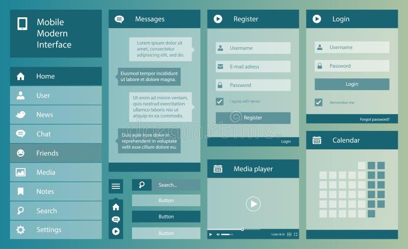 Illustration of flat design mobile interface. Illustration of vector flat design mobile interface royalty free illustration