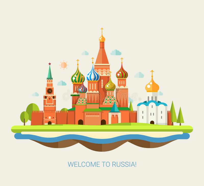 Illustration of flat design travel composition royalty free illustration