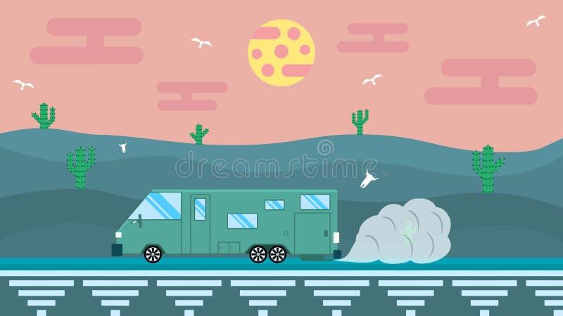 Illustration in flat design. Travel in house on wheels vector illustration