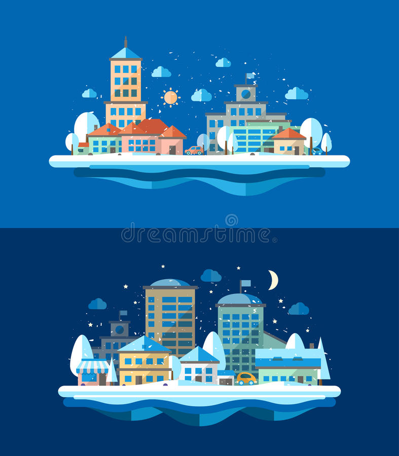 Illustration of flat design urban winter landscape vector illustration